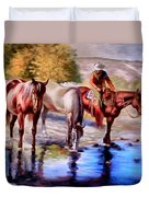 Watering The Horses Duvet Cover