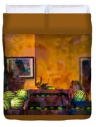 Watermelons On The Window Sill Duvet Cover
