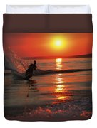 Waterskiing At Sunset Duvet Cover