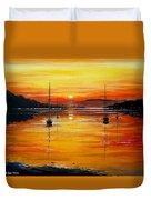 Watery Sunset At Bala Lake Duvet Cover