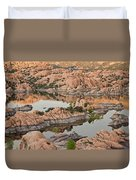 Watson Lake Sunset Duvet Cover by Angie Schutt