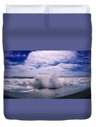 Waves Breaking At The Coast, Iceland Duvet Cover