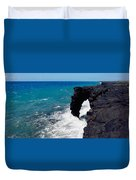 Waves Breaking On Rocks, Hawaii Duvet Cover