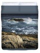 Waves Crashing Against The Shore In Acadia National Park Duvet Cover