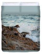 Waves Hitting The Rocks Duvet Cover