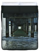 Waves Under The Clearwater Pier 60 Duvet Cover