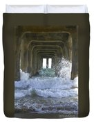 Waves Under The Pier Portrait Duvet Cover