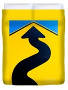 Wavy Arrow Concept Of Winding Road To Success Duvet Cover