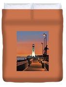 Wawatam Lighthouse Sunrise Duvet Cover