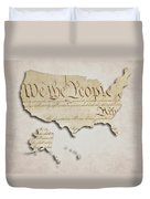 We The People - Us Constitution Map Duvet Cover