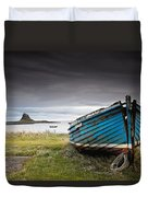 Weathered Boat On The Shore Duvet Cover