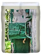 Weathered Green Paint Duvet Cover
