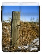 Weathered Old Fence Post Duvet Cover