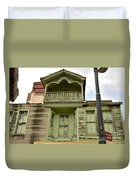 Weathered Old Green Wooden House Duvet Cover