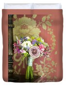 Wedding Bouquet And Vintage Wallpaper Duvet Cover