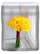 Wedding Bouquet Of Yellow Roses Duvet Cover