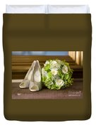 Wedding Shoes And Flowers Bouquet Duvet Cover