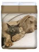 Weimaraner Asleep With Cat Duvet Cover