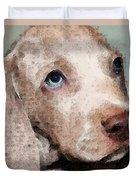 Weimaraner Dog Art - Forgive Me Duvet Cover by Sharon Cummings