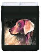 Weimaraner Dog Painting Duvet Cover