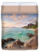Welcome To La Digue Duvet Cover