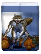 Werewolf With Pumpkins Duvet Cover