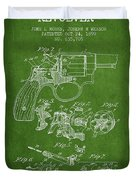 Wesson Hobbs Revolver Patent Drawing From 1899 - Green Duvet Cover