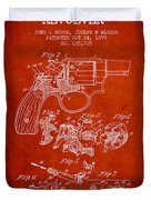 Wesson Hobbs Revolver Patent Drawing From 1899 - Red Duvet Cover