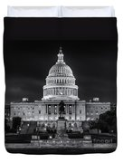 West Front Of The National Capitol Bw Duvet Cover