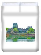 West Gallery From Across Moat In Angkor Wat In Angkor Wat Archeological Park Near Siem Reap-cambodia Duvet Cover
