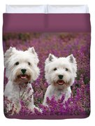 West Highland Terrier Dogs In Heather Duvet Cover