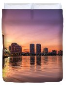 West Palm Beach Skyline At Dusk Duvet Cover