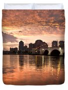 West Palm Beach Skyline At Sunset Duvet Cover