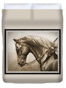 Western Horse Old Photo Fx Duvet Cover by Crista Forest