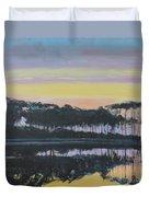 Western Lake Sunrise Duvet Cover