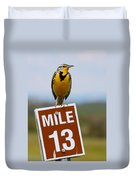 Western Meadowlark On The Mile 13 Sign Duvet Cover