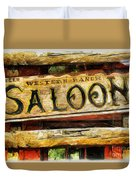 Western Saloon Sign - Drawing Duvet Cover