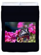 Western Tiger Swallowtail Butterfly On Geranium Duvet Cover