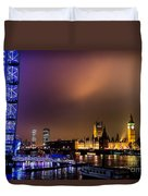 Westminster And Eye Night Glow Duvet Cover
