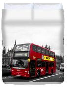 Westminster And Red Bus Duvet Cover