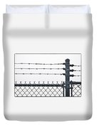 Wet Barbed Wire Fence In Heavy Fog E69 Duvet Cover