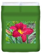 Wet Red Razzmatazz Daylily 1 Duvet Cover