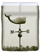 Whale Weathervane In Sepia Duvet Cover