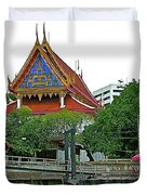 Wharf Along Waterway Of Bangkok-thailand Duvet Cover