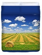 Wheat Farm Field And Hay Bales At Harvest In Saskatchewan Duvet Cover