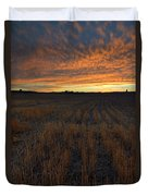 Wheat Stubble Sunset Duvet Cover by Mike  Dawson