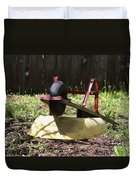 Wheel Barrow In A Yard Duvet Cover by Robert D  Brozek