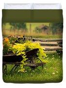 Wheel Barrow Of Flowers Duvet Cover