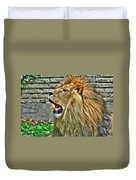 When He Speaks...they Listen...lazy Boy At The Buffalo Zoo Duvet Cover