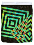 When Squares  Merge Green Duvet Cover
